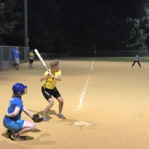 Stacy Playing Softball